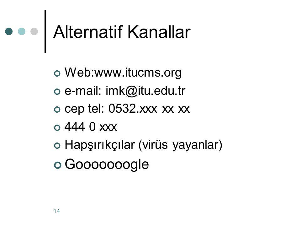 14 Alternatif Kanallar Web:www.itucms.org e-mail: imk@itu.edu.tr cep tel: 0532.xxx xx xx 444 0 xxx Hapşırıkçılar (virüs yayanlar) Gooooooogle