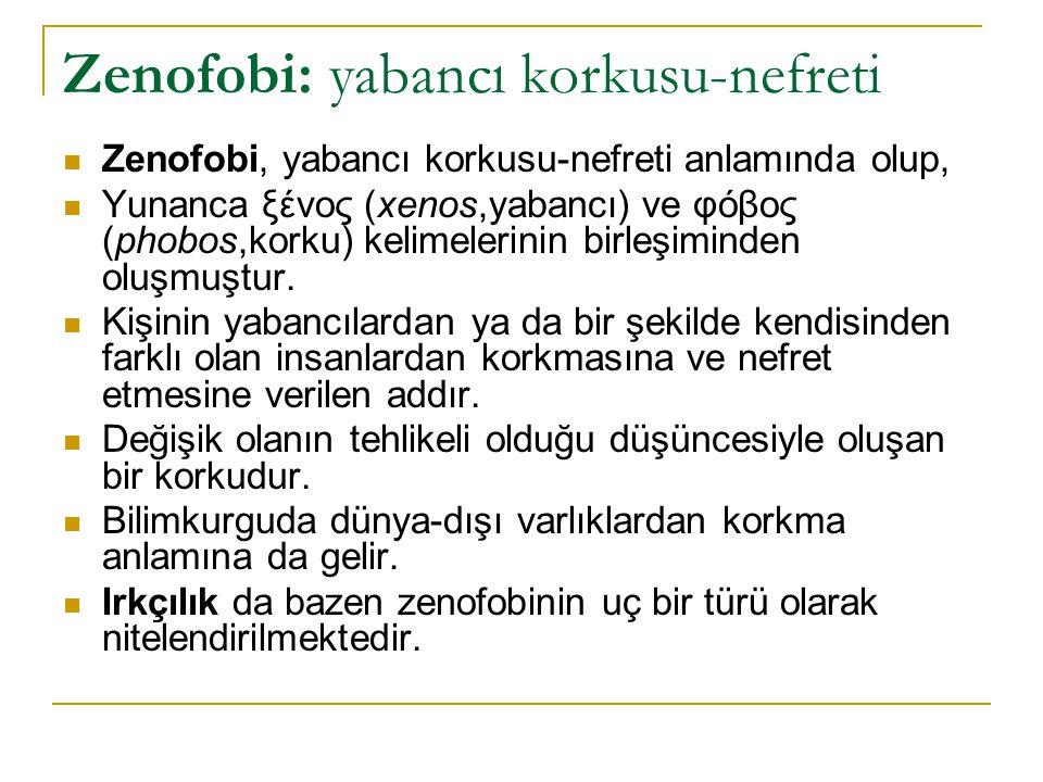 Zenofobi: yabancı korkusu-nefreti Zenofobi, yabancı korkusu-nefreti anlamında olup, Yunanca ξένος (xenos,yabancı) ve φόβος (phobos,korku) kelimelerinin birleşiminden oluşmuştur.