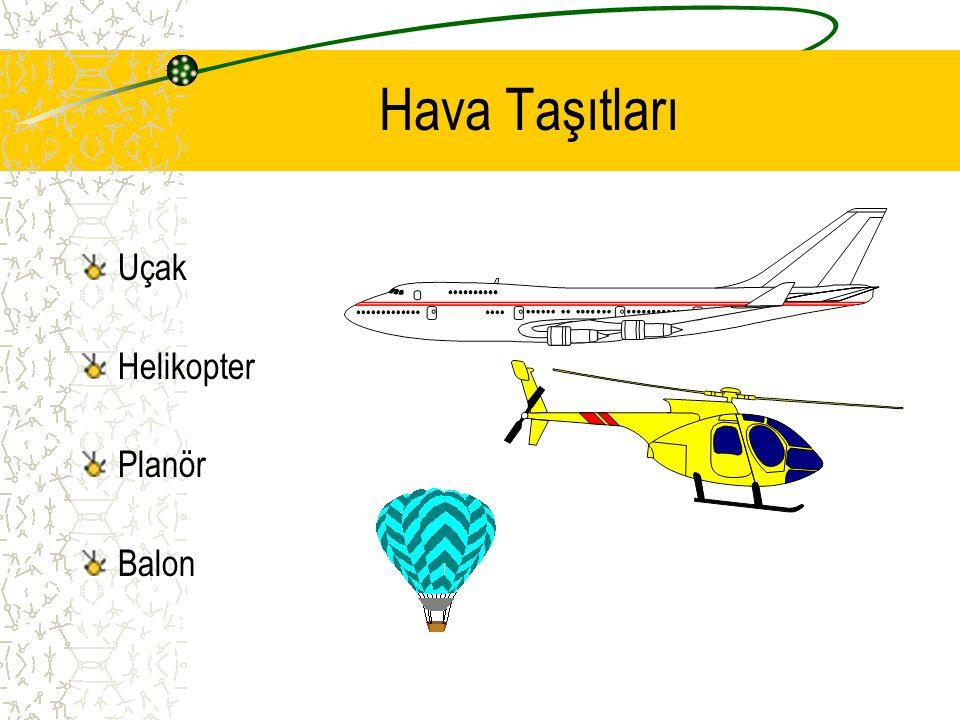 Hava Taşıtları Hava taşıtlarının hareket ettikleri yollara hava yolları denir. Hava taşıtlarını kullanan kimselere PİLOT denir.