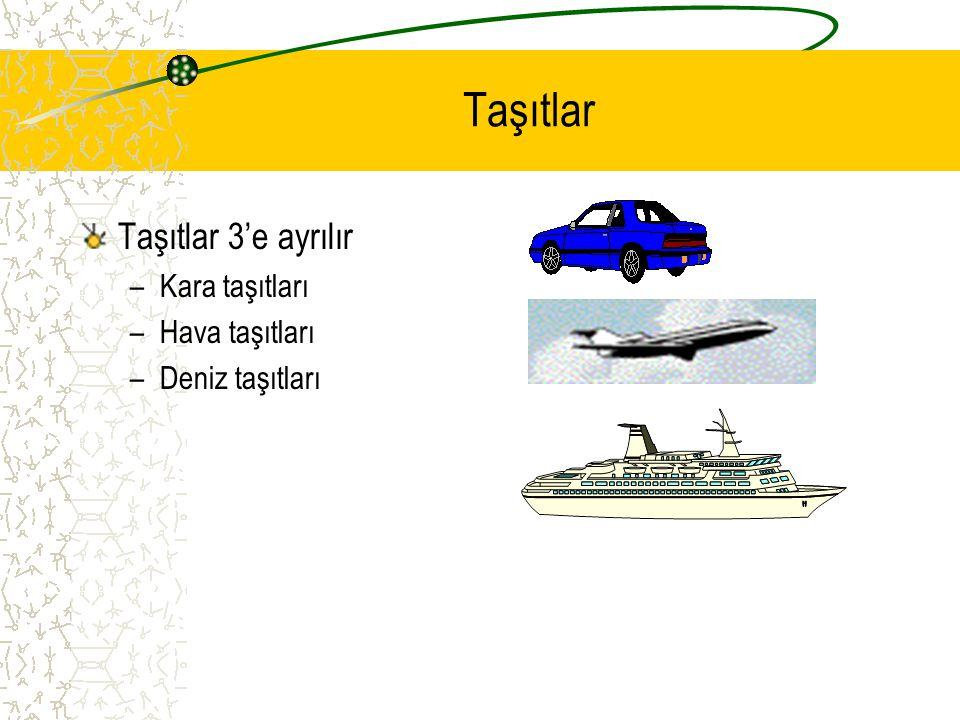 Taşıtlar Taşıtlar 3'e ayrılır –Kara taşıtları –Hava taşıtları –Deniz taşıtları