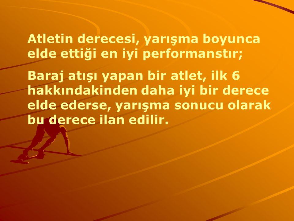 Atletin derecesi, yarışma boyunca elde ettiği en iyi performanstır; Baraj atışı yapan bir atlet, ilk 6 hakkındakinden daha iyi bir derece elde ederse,