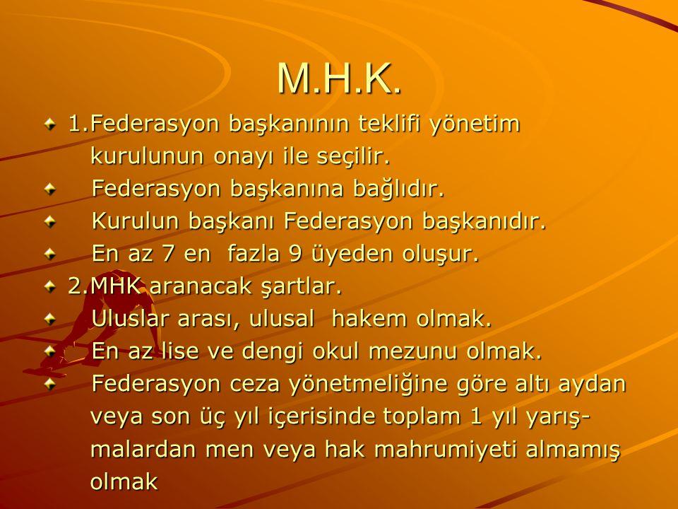 M.H.K. 1.Federasyon başkanının teklifi yönetim kurulunun onayı ile seçilir. kurulunun onayı ile seçilir. Federasyon başkanına bağlıdır. Federasyon baş