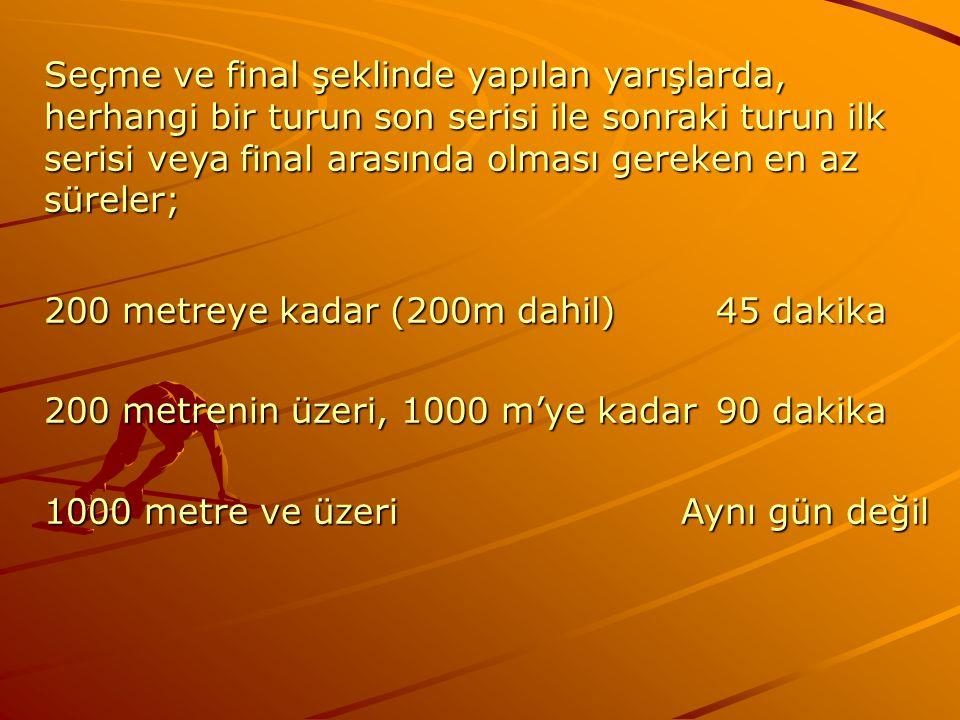 Seçme ve final şeklinde yapılan yarışlarda, herhangi bir turun son serisi ile sonraki turun ilk serisi veya final arasında olması gereken en az sürele