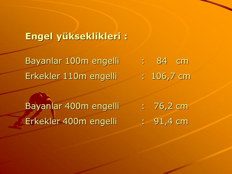 Engel yükseklikleri : Bayanlar 100m engelli: 84 cm Erkekler 110m engelli: 106,7 cm Bayanlar 400m engelli: 76,2 cm Erkekler 400m engelli: 91,4 cm