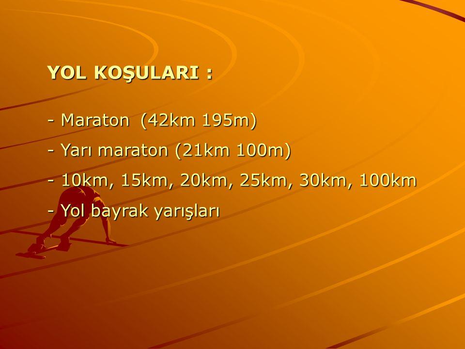 YOL KOŞULARI : - Maraton(42km 195m) - Yarı maraton (21km 100m) - 10km, 15km, 20km, 25km, 30km, 100km - Yol bayrak yarışları