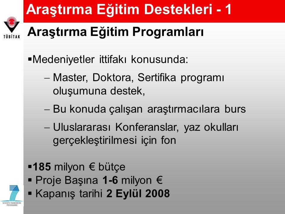 Araştırma Eğitim Destekleri - 1  185 milyon € bütçe  Proje Başına 1-6 milyon €  Kapanış tarihi 2 Eylül 2008 Araştırma Eğitim Programları  Medeniyetler ittifakı konusunda:  Master, Doktora, Sertifika programı oluşumuna destek,  Bu konuda çalışan araştırmacılara burs  Uluslararası Konferanslar, yaz okulları gerçekleştirilmesi için fon