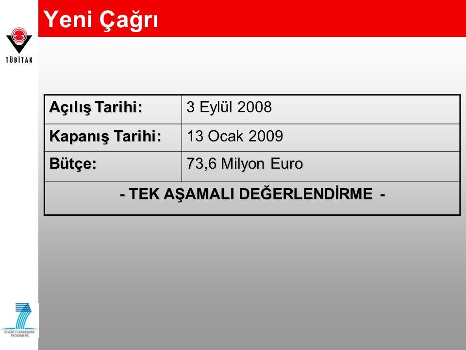 Yeni Çağrı Açılış Tarihi: 3 Eylül 2008 Kapanış Tarihi: 13 Ocak 2009 Bütçe: 73,6 Milyon Euro - TEK AŞAMALI DEĞERLENDİRME -