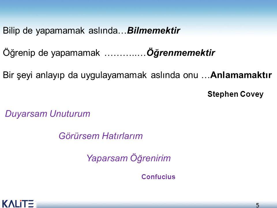 5 Bilip de yapamamak aslında…Bilmemektir Öğrenip de yapamamak ………..…Öğrenmemektir Bir şeyi anlayıp da uygulayamamak aslında onu …Anlamamaktır Stephen
