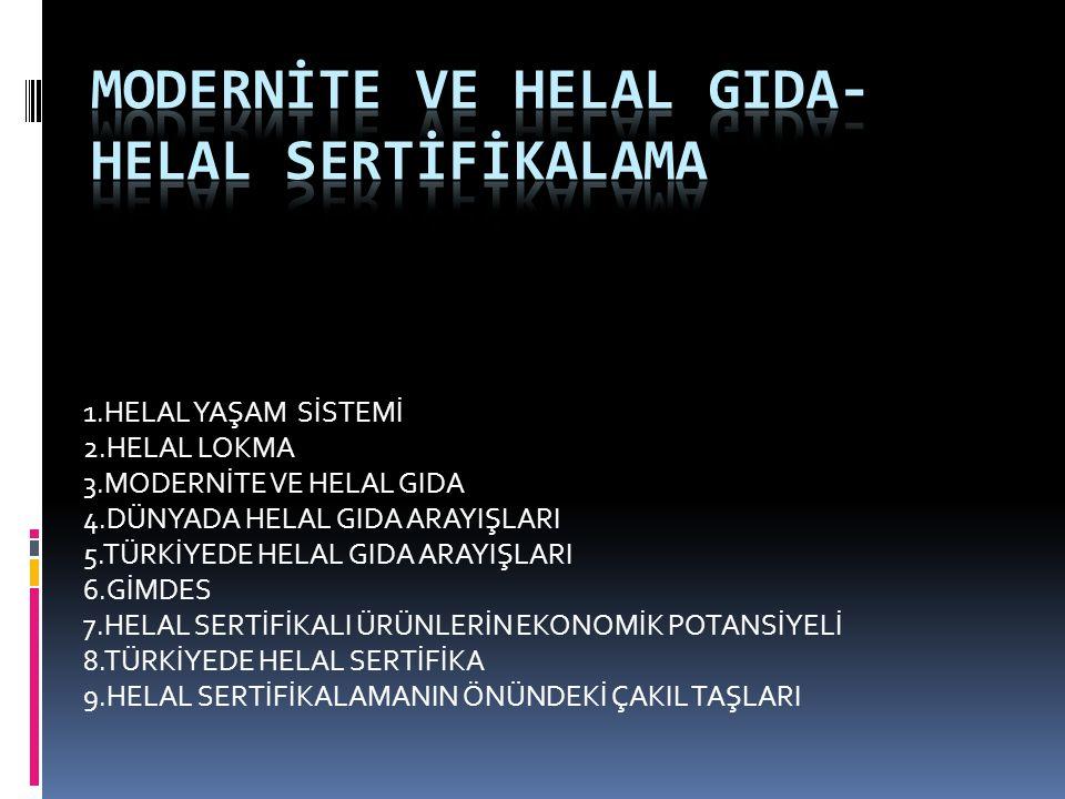 1.HELAL YAŞAM SİSTEMİ 2.HELAL LOKMA 3.MODERNİTE VE HELAL GIDA 4.DÜNYADA HELAL GIDA ARAYIŞLARI 5.TÜRKİYEDE HELAL GIDA ARAYIŞLARI 6.GİMDES 7.HELAL SERTİFİKALI ÜRÜNLERİN EKONOMİK POTANSİYELİ 8.TÜRKİYEDE HELAL SERTİFİKA 9.HELAL SERTİFİKALAMANIN ÖNÜNDEKİ ÇAKIL TAŞLARI