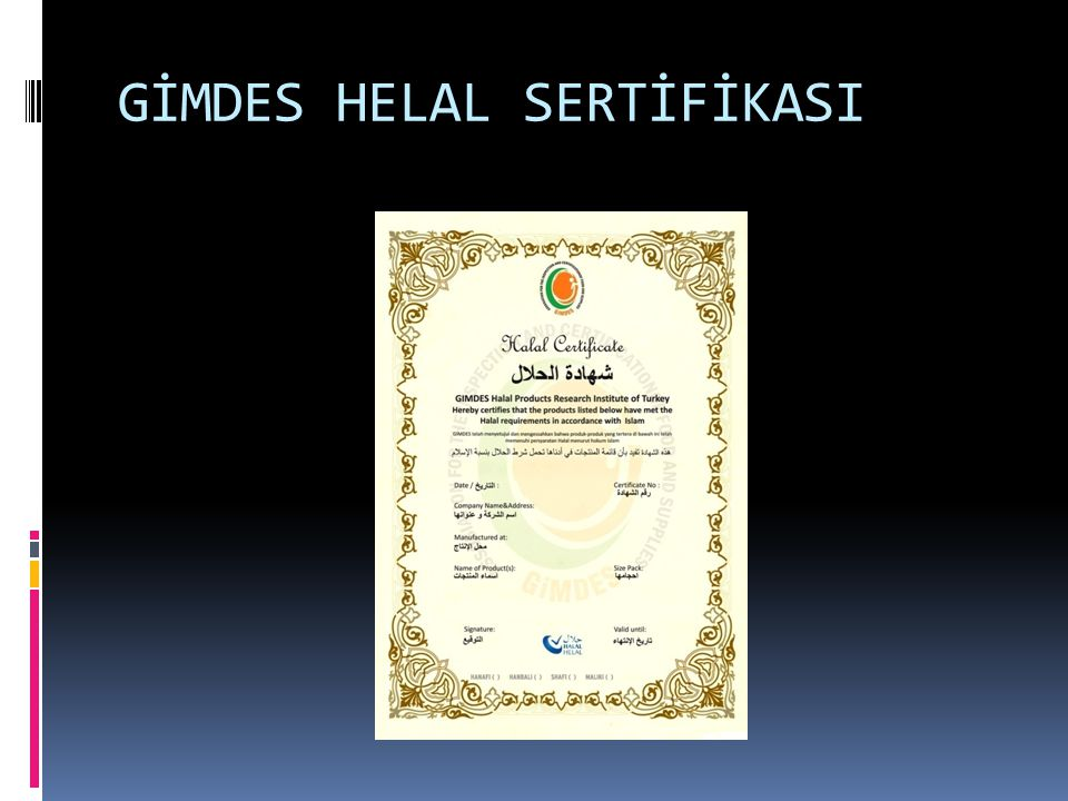 GİMDES HELAL SERTİFİKASI