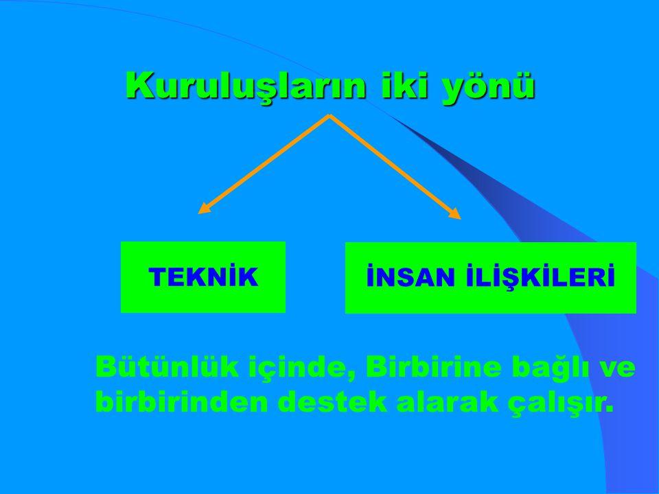 Kuruluşların iki yönü TEKNİK İNSAN İLİŞKİLERİ Bütünlük içinde, Birbirine bağlı ve birbirinden destek alarak çalışır.