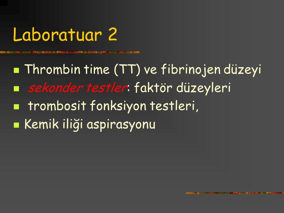 Laboratuar 2 Thrombin time (TT) ve fibrinojen düzeyi sekonder testler: faktör düzeyleri trombosit fonksiyon testleri, Kemik iliği aspirasyonu