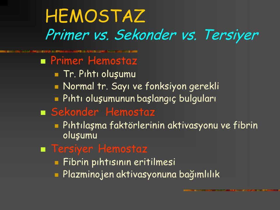 HEMOSTAZ Primer vs. Sekonder vs. Tersiyer Primer Hemostaz Tr. Pıhtı oluşumu Normal tr. Sayı ve fonksiyon gerekli Pıhtı oluşumunun başlangıç bulguları