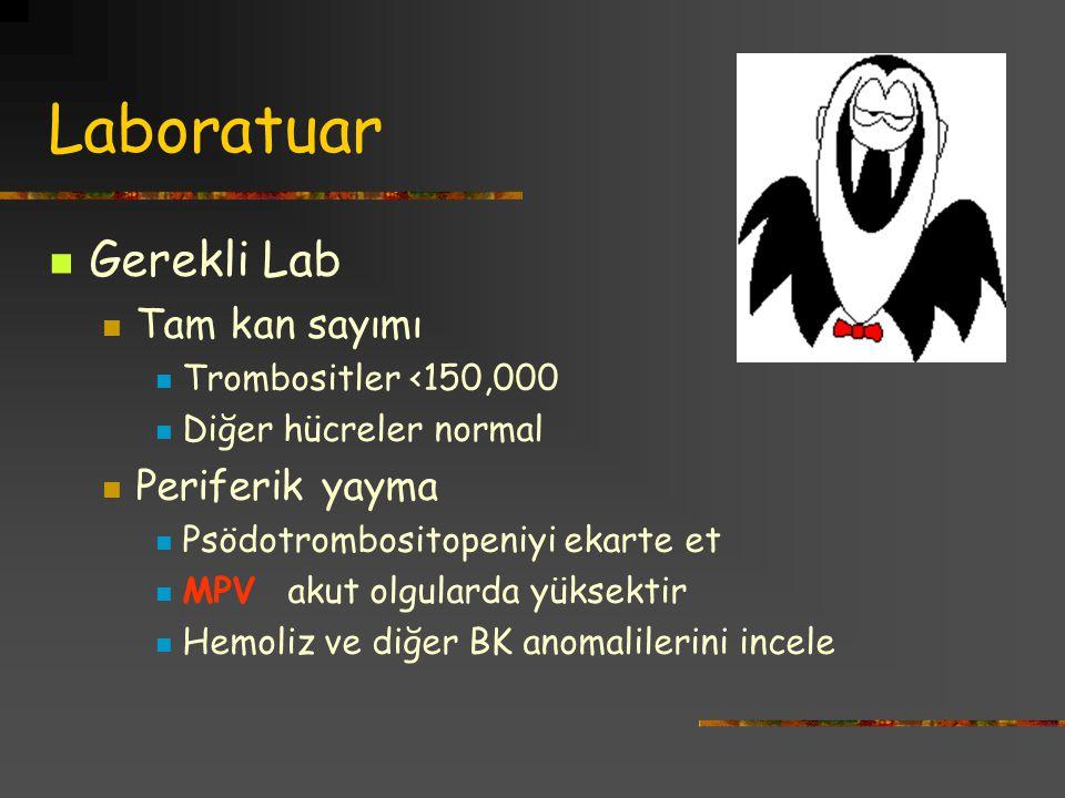 Laboratuar Gerekli Lab Tam kan sayımı Trombositler <150,000 Diğer hücreler normal Periferik yayma Psödotrombositopeniyi ekarte et MPV akut olgularda y