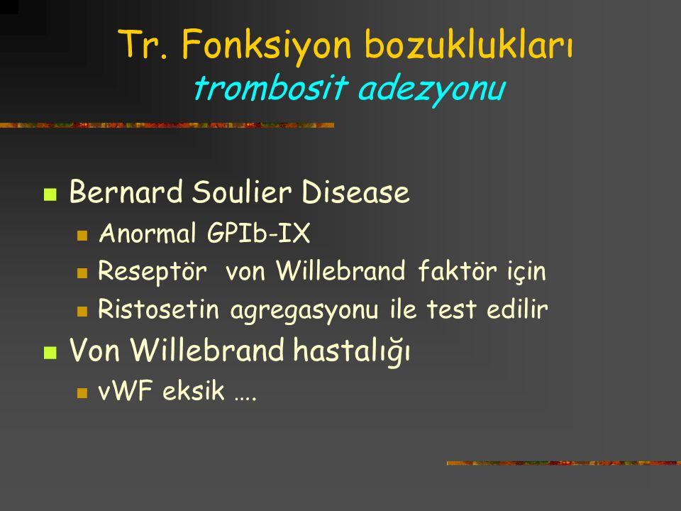 Tr. Fonksiyon bozuklukları trombosit adezyonu Bernard Soulier Disease Anormal GPIb-IX Reseptör von Willebrand faktör için Ristosetin agregasyonu ile t