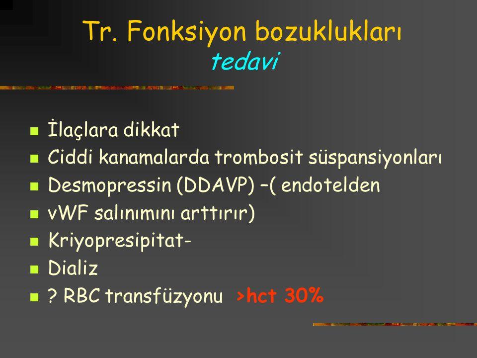 Tr. Fonksiyon bozuklukları tedavi İlaçlara dikkat Ciddi kanamalarda trombosit süspansiyonları Desmopressin (DDAVP) –( endotelden vWF salınımını arttır