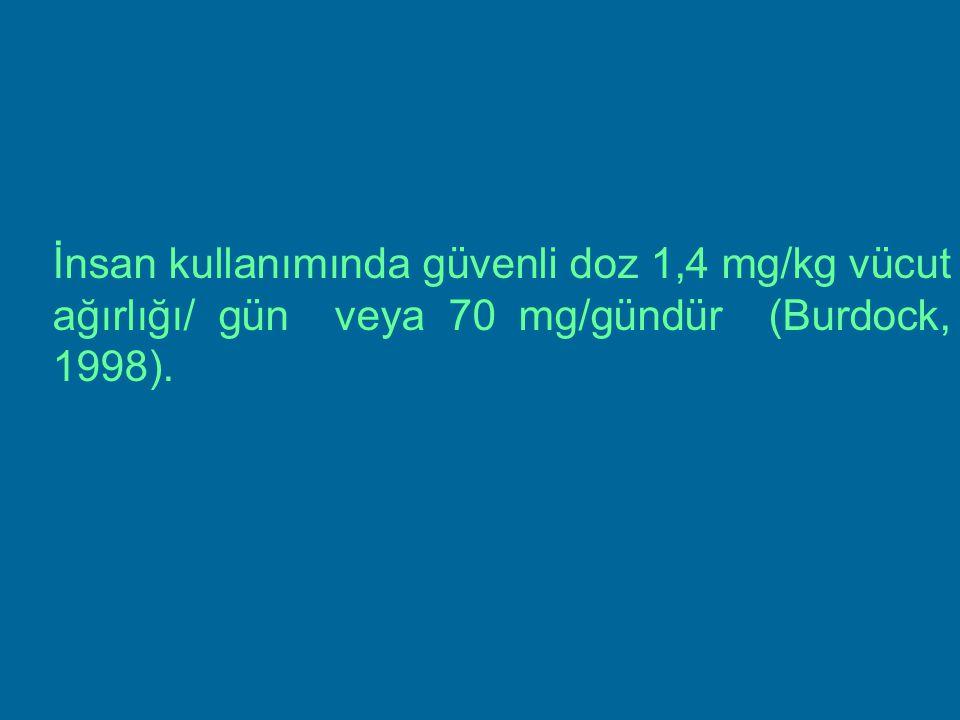 İnsan kullanımında güvenli doz 1,4 mg/kg vücut ağırlığı/ gün veya 70 mg/gündür (Burdock, 1998).