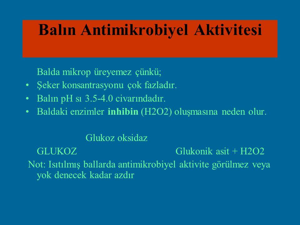 Balın Antimikrobiyel Aktivitesi Balda mikrop üreyemez çünkü; Şeker konsantrasyonu çok fazladır. Balın pH sı 3.5-4.0 civarındadır. Baldaki enzimler inh