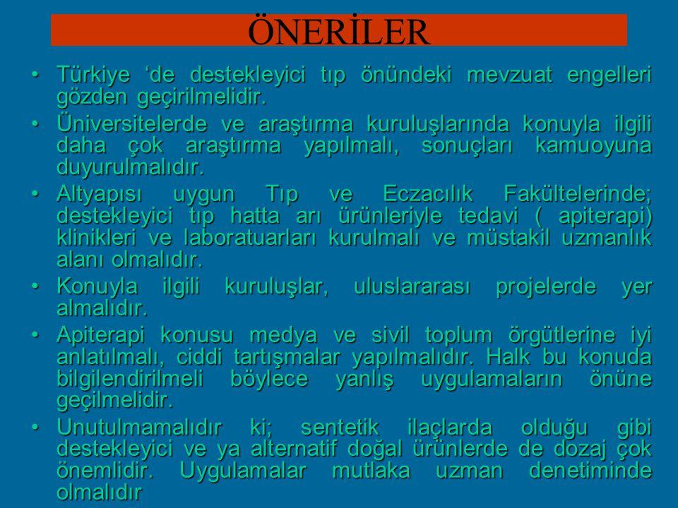 ÖNERİLER Türkiye 'de destekleyici tıp önündeki mevzuat engelleri gözden geçirilmelidir.Türkiye 'de destekleyici tıp önündeki mevzuat engelleri gözden geçirilmelidir.