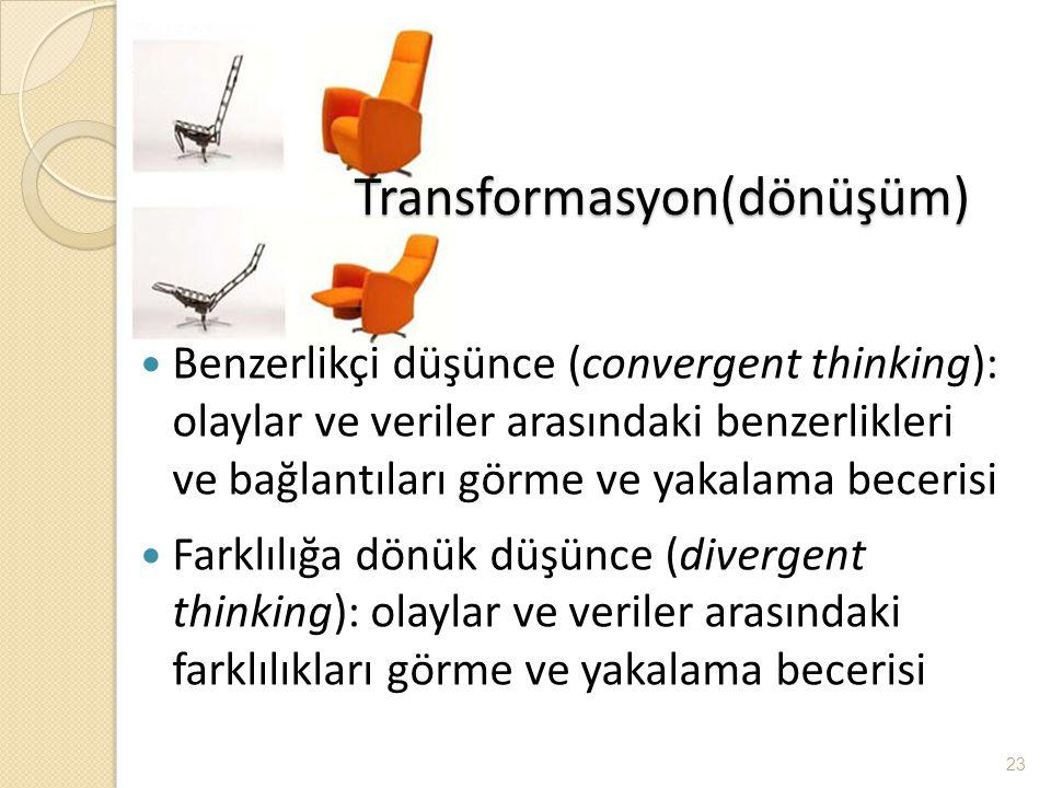 Transformasyon(dönüşüm) Benzerlikçi düşünce (convergent thinking): olaylar ve veriler arasındaki benzerlikleri ve bağlantıları görme ve yakalama becer