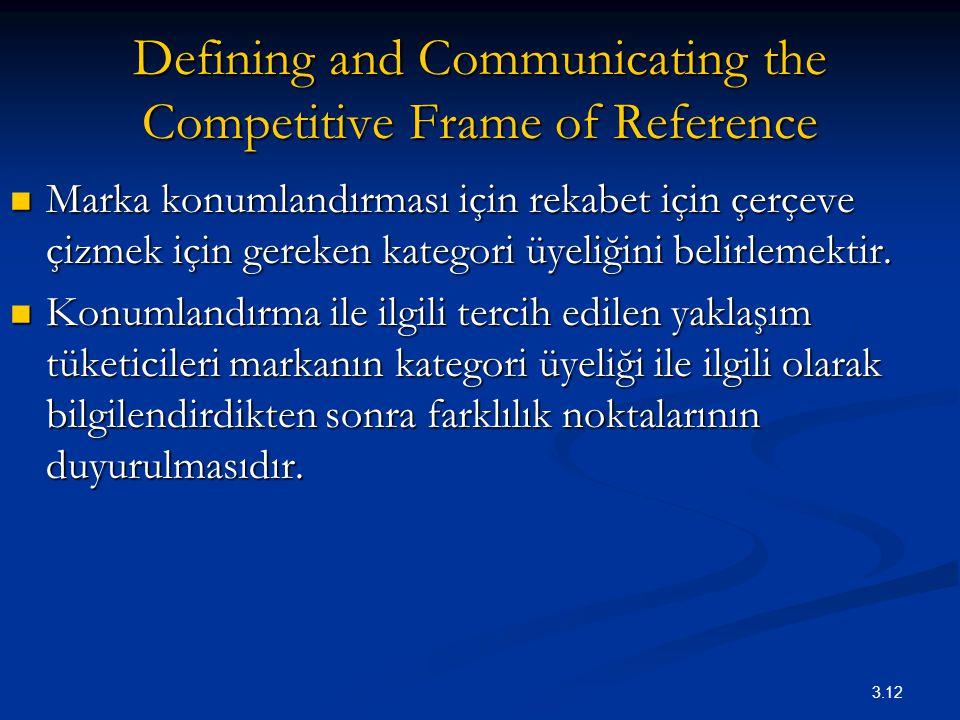 3.12 Defining and Communicating the Competitive Frame of Reference Marka konumlandırması için rekabet için çerçeve çizmek için gereken kategori üyeliğ