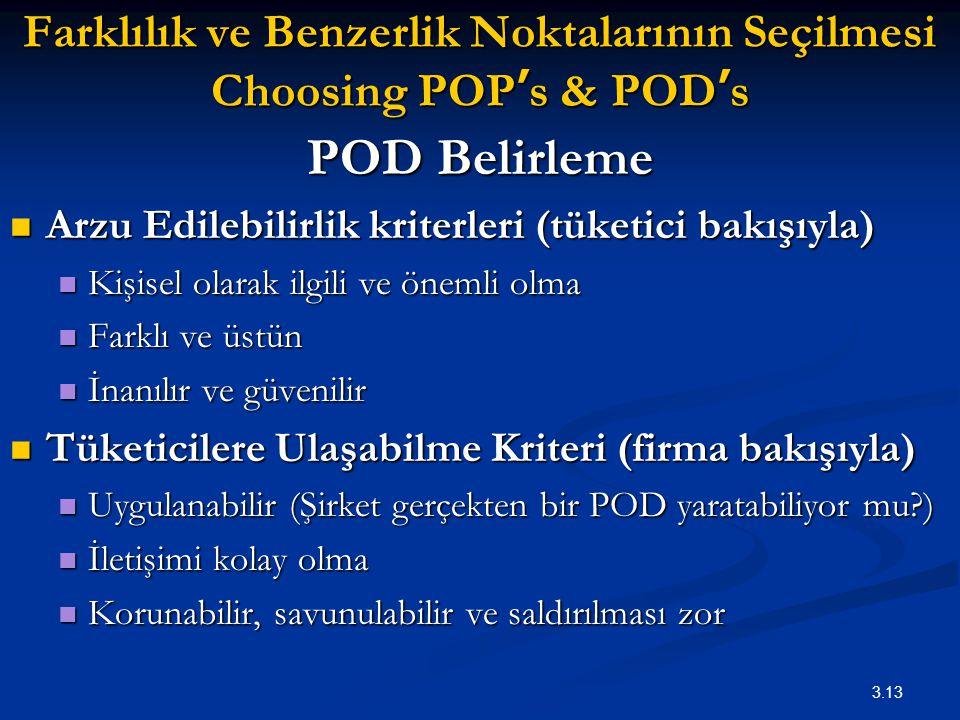 3.13 Farklılık ve Benzerlik Noktalarının Seçilmesi Choosing POP ' s & POD ' s POD Belirleme Arzu Edilebilirlik kriterleri (tüketici bakışıyla) Arzu Ed
