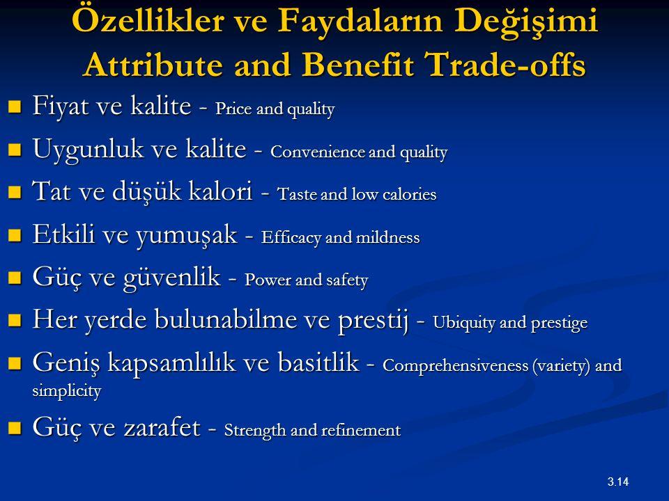 3.14 Özellikler ve Faydaların Değişimi Attribute and Benefit Trade-offs Fiyat ve kalite - Price and quality Fiyat ve kalite - Price and quality Uygunl