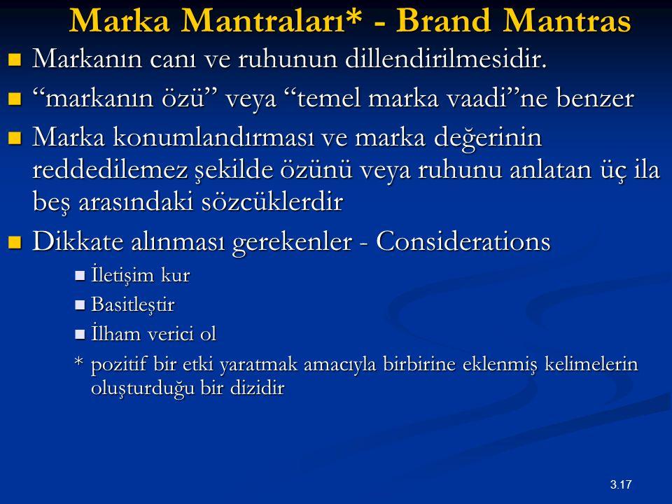 """3.17 Marka Mantraları* - Brand Mantras Markanın canı ve ruhunun dillendirilmesidir. Markanın canı ve ruhunun dillendirilmesidir. """"markanın özü"""" veya """""""