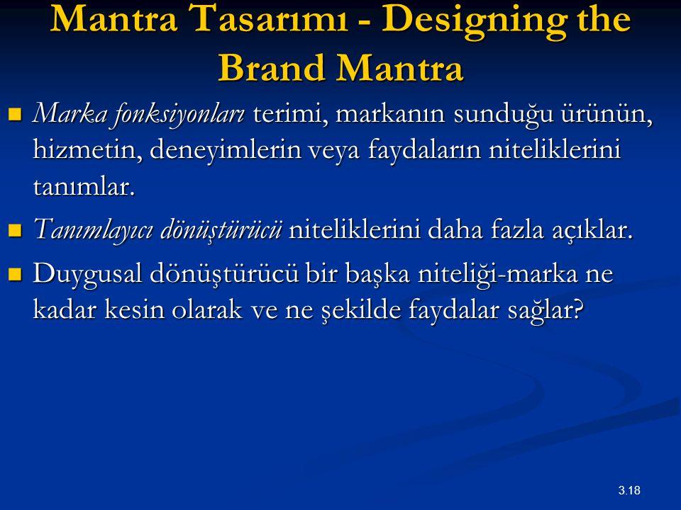3.18 Mantra Tasarımı - Designing the Brand Mantra Marka fonksiyonları terimi, markanın sunduğu ürünün, hizmetin, deneyimlerin veya faydaların nitelikl