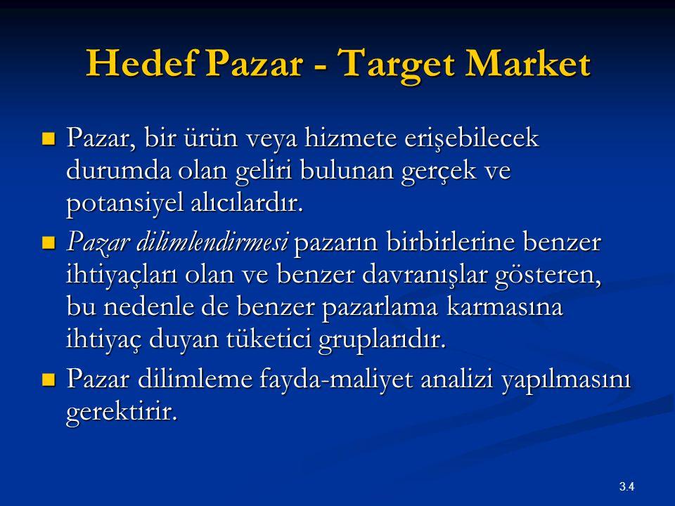 3.4 Hedef Pazar - Target Market Pazar, bir ürün veya hizmete erişebilecek durumda olan geliri bulunan gerçek ve potansiyel alıcılardır. Pazar, bir ürü