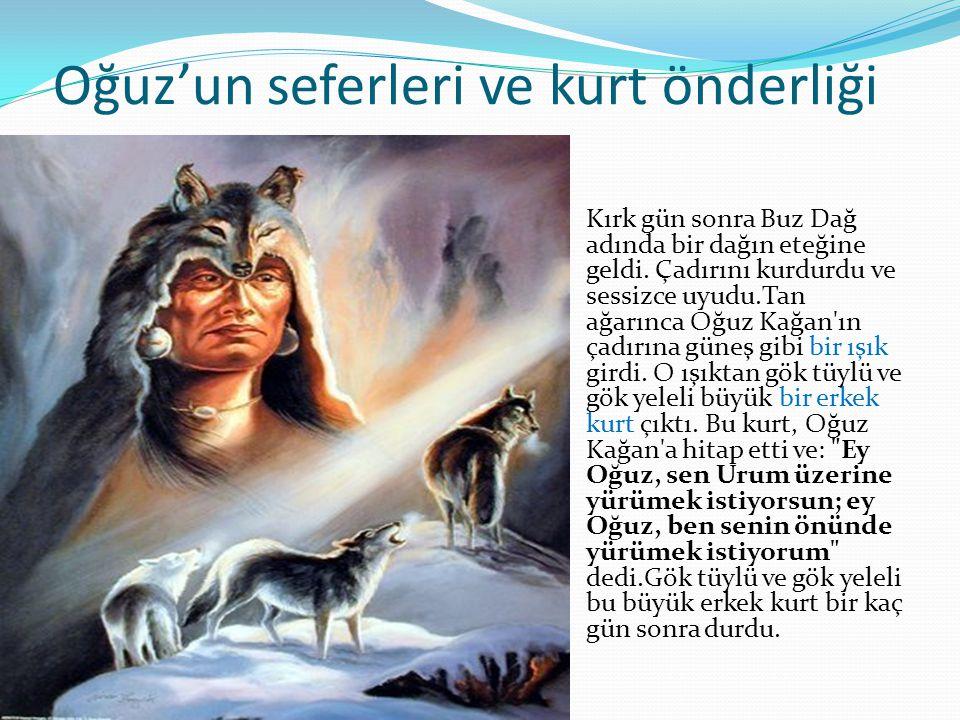 Oğuz'un seferleri ve kurt önderliği Kırk gün sonra Buz Dağ adında bir dağın eteğine geldi.