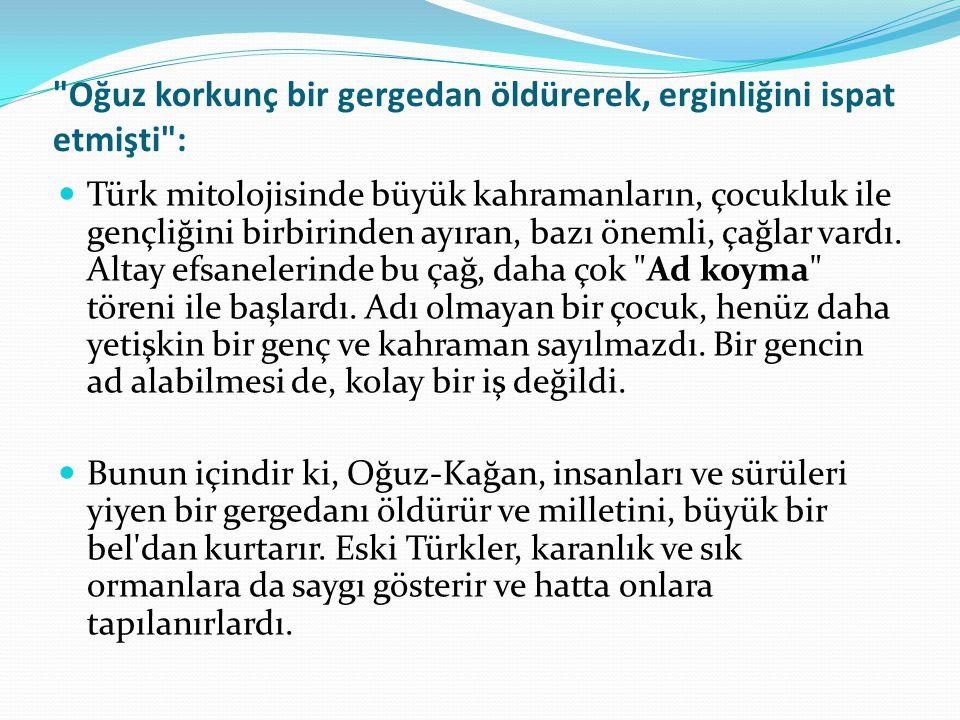 Oğuz korkunç bir gergedan öldürerek, erginliğini ispat etmişti : Türk mitolojisinde büyük kahramanların, çocukluk ile gençliğini birbirinden ayıran, bazı önemli, çağlar vardı.