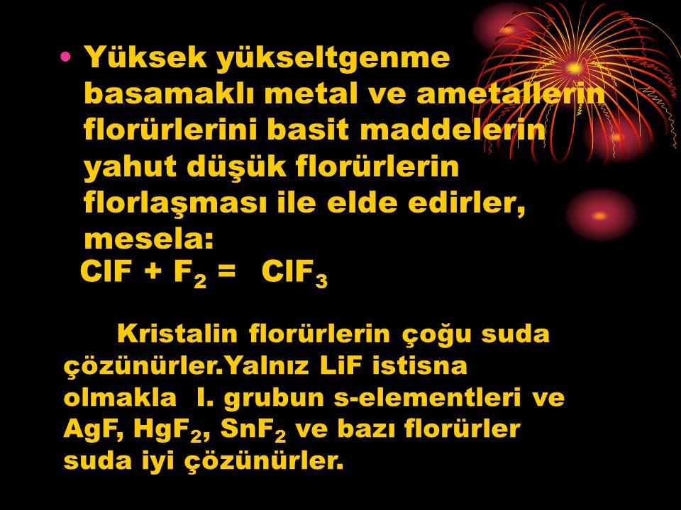 Yüksek yükseltgenme basamaklı metal ve ametallerin florürlerini basit maddelerin yahut düşük florürlerin florlaşması ile elde edirler, mesela: ClF + F
