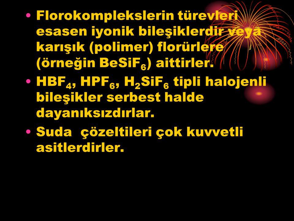 Florokomplekslerin türevleri esasen iyonik bileşiklerdir veya karışık (polimer) florürlere (örneğin BeSiF 6 ) aittirler. HBF 4, HPF 6, H 2 SiF 6 tipli