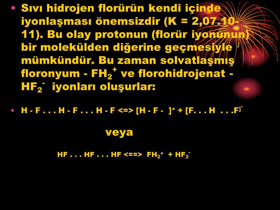 Sıvı hidrojen florürün kendi içinde iyonlaşması önemsizdir (K = 2,07.10- 11). Bu olay protonun (florür iyonunun) bir molekülden diğerine geçmesiyle mü