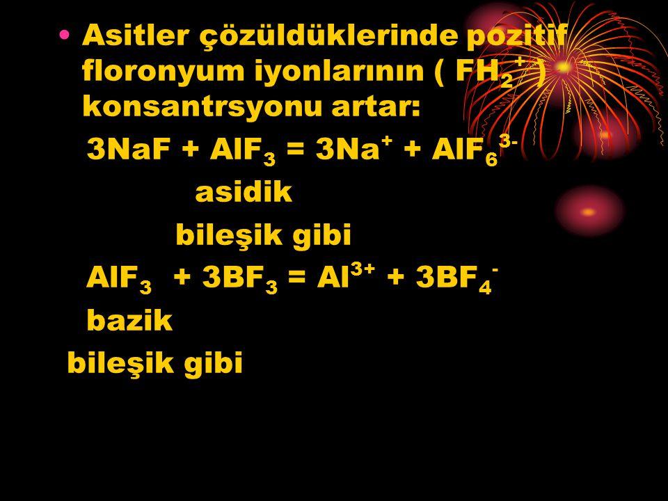 Asitler çözüldüklerinde pozitif floronyum iyonlarının ( FH 2 + ) konsantrsyonu artar: 3NaF + AlF 3 = 3Na + + AlF 6 3- asidik bileşik gibi AlF 3 + 3BF