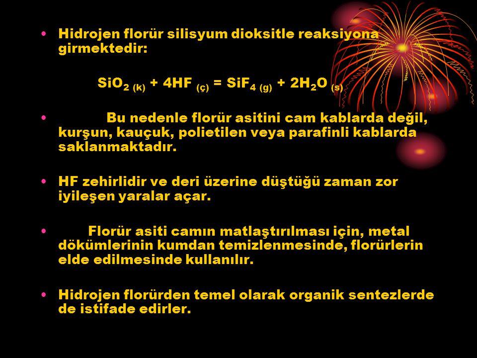 Hidrojen florür silisyum dioksitle reaksiyona girmektedir: SiO 2 (k) + 4HF (ç) = SiF 4 (g) + 2H 2 O (s) Bu nedenle florür asitini cam kablarda değil,