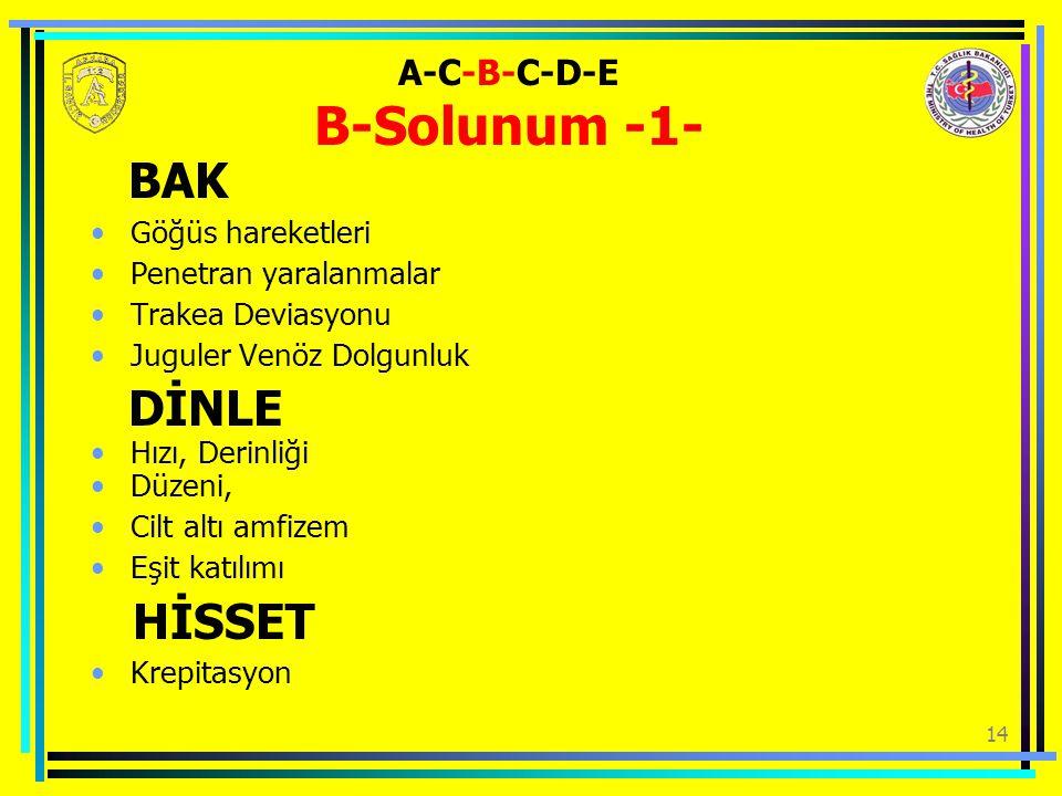 14 A-C-B-C-D-E B-Solunum -1- BAK Göğüs hareketleri Penetran yaralanmalar Trakea Deviasyonu Juguler Venöz Dolgunluk DİNLE Hızı, Derinliği Düzeni, Cilt altı amfizem Eşit katılımı HİSSET Krepitasyon