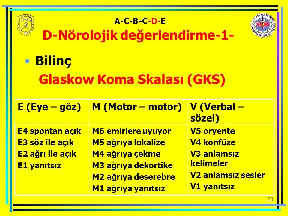 23 Bilinç Glaskow Koma Skalası (GKS) A-C-B-C-D-E D-Nörolojik değerlendirme-1- V5 oryente V4 konfüze V3 anlamsız kelimeler V2 anlamsız sesler V1 yanıtsız M6 emirlere uyuyor M5 ağrıya lokalize M4 ağrıya çekme M3 ağrıya dekortike M2 ağrıya deserebre M1 ağrıya yanıtsız E4 spontan açık E3 söz ile açık E2 ağrı ile açık E1 yanıtsız V (Verbal – sözel) M (Motor – motor)E (Eye – göz)