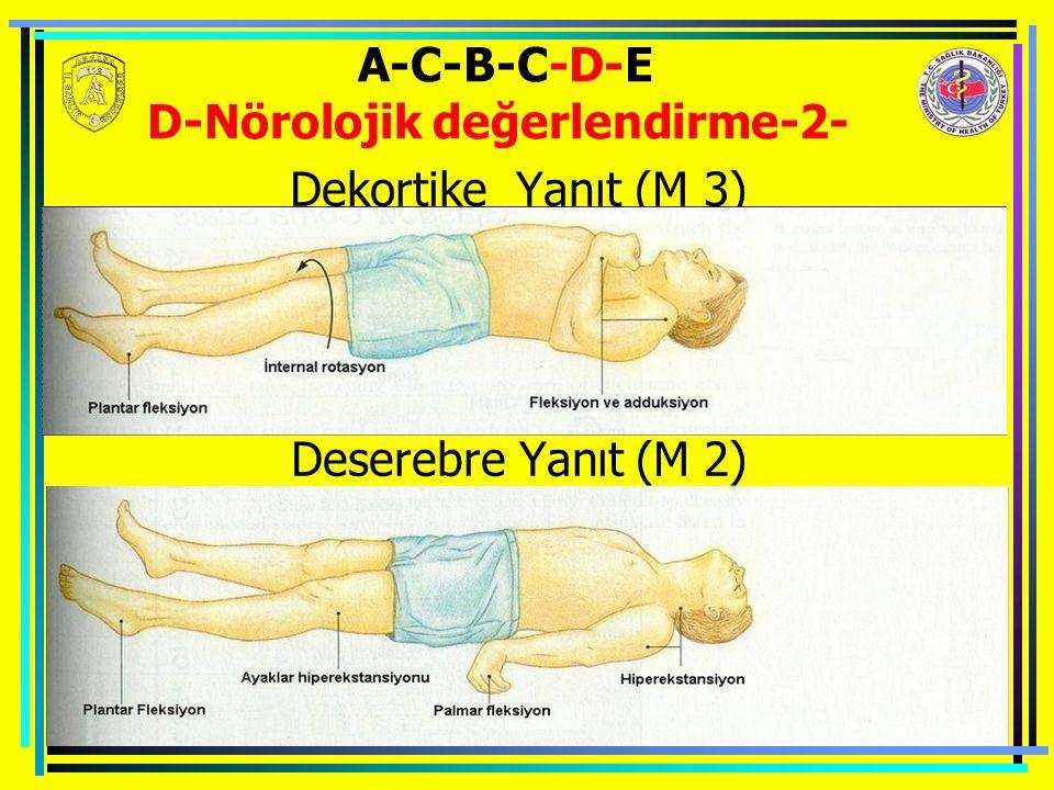 A-C-B-C-D-E D-Nörolojik değerlendirme-2- Dekortike Yanıt (M 3) Deserebre Yanıt (M 2)