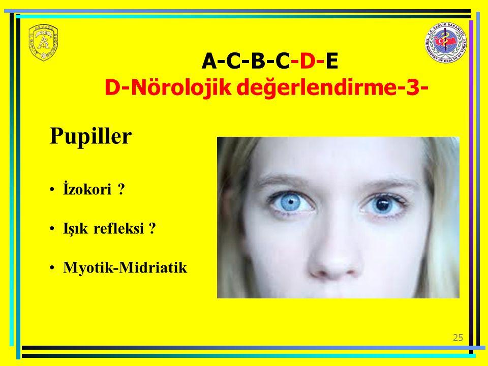 25 Pupiller İzokori ? Işık refleksi ? Myotik-Midriatik A-C-B-C-D-E D-Nörolojik değerlendirme-3-