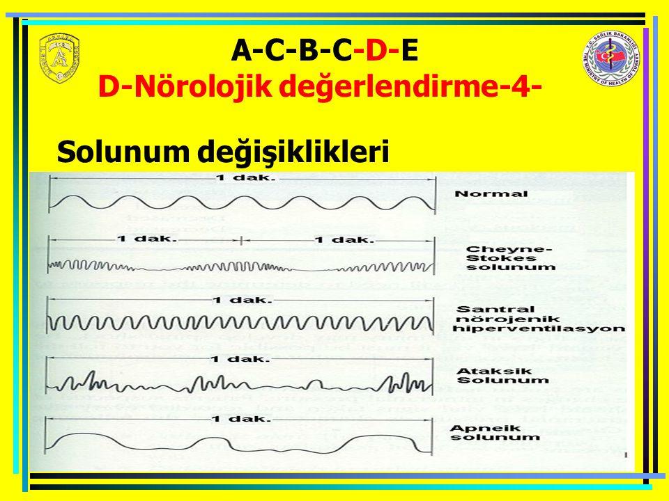 A-C-B-C-D-E D-Nörolojik değerlendirme-4- Solunum değişiklikleri