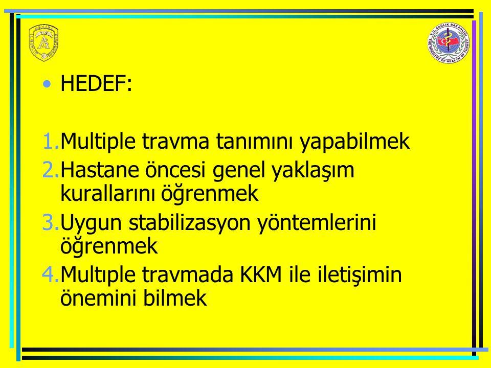 HEDEF: 1.Multiple travma tanımını yapabilmek 2.Hastane öncesi genel yaklaşım kurallarını öğrenmek 3.Uygun stabilizasyon yöntemlerini öğrenmek 4.Multıple travmada KKM ile iletişimin önemini bilmek