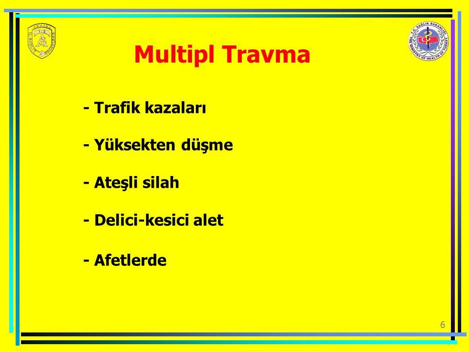 6 Multipl Travma - Trafik kazaları - Yüksekten düşme - Ateşli silah - Delici-kesici alet - Afetlerde