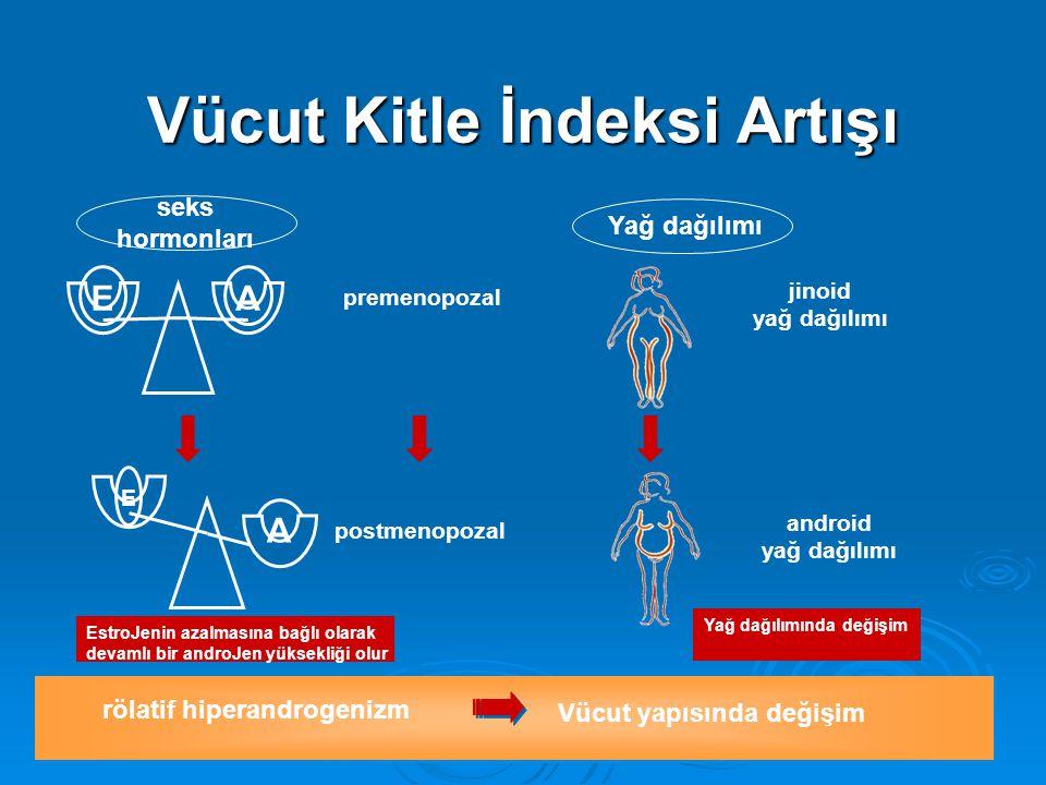 rölatif hiperandrogenizm Vücut yapısında değişim EA premenopozal jinoid yağ dağılımı seks hormonları Yağ dağılımı A E postmenopozal Yağ dağılımında değişim android yağ dağılımı EstroJenin azalmasına bağlı olarak devamlı bir androJen yüksekliği olur Vücut Kitle İndeksi Artışı