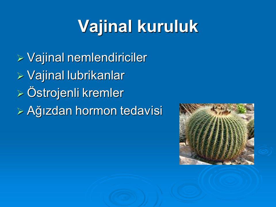 Vajinal kuruluk  Vajinal nemlendiriciler  Vajinal lubrikanlar  Östrojenli kremler  Ağızdan hormon tedavisi