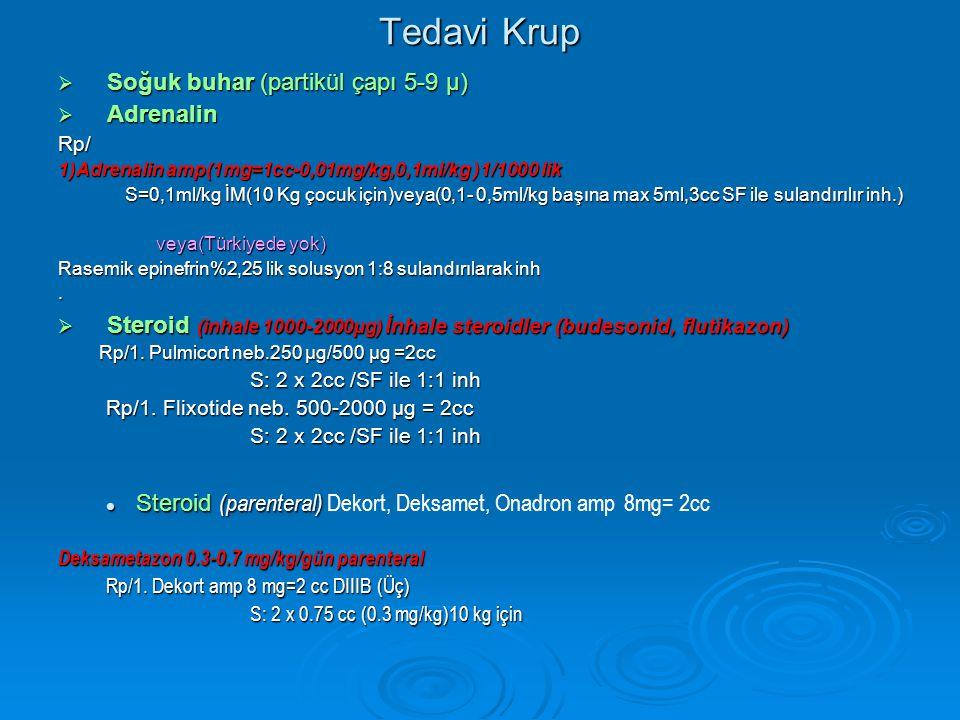 Tedavi Krup  Soğuk buhar (partikül çapı 5-9 µ)  Adrenalin Rp/ 1)Adrenalin amp(1mg=1cc-0,01mg/kg,0,1ml/kg )1/1000 lik S=0,1ml/kg İM(10 Kg çocuk için)veya(0,1- 0,5ml/kg başına max 5ml,3cc SF ile sulandırılır inh.) S=0,1ml/kg İM(10 Kg çocuk için)veya(0,1- 0,5ml/kg başına max 5ml,3cc SF ile sulandırılır inh.) veya(Türkiyede yok) veya(Türkiyede yok) Rasemik epinefrin%2,25 lik solusyon 1:8 sulandırılarak inh.
