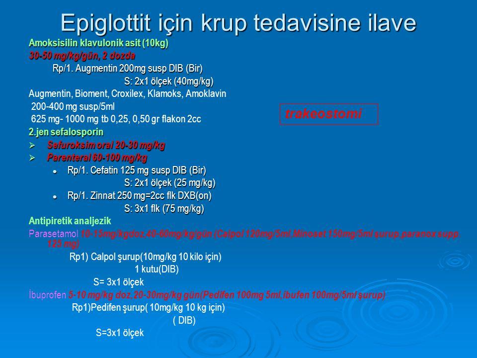 Epiglottit için krup tedavisine ilave Amoksisilin klavulonik asit (10kg) 30-50 mg/kg/gün, 2 dozda Rp/1.