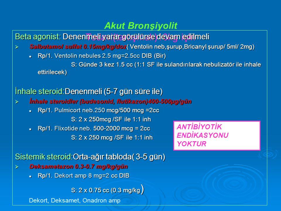 Akut Bronşiyolit Tedavi(tartışmalı)10kg için Beta agonist: Denenmeli yarar görülürse devam edilmeli  Salbutamol sulfat 0.15mg/kg/doz( Ventolin neb,şurup,Bricanyl şurup/ 5ml/ 2mg) Rp/1.