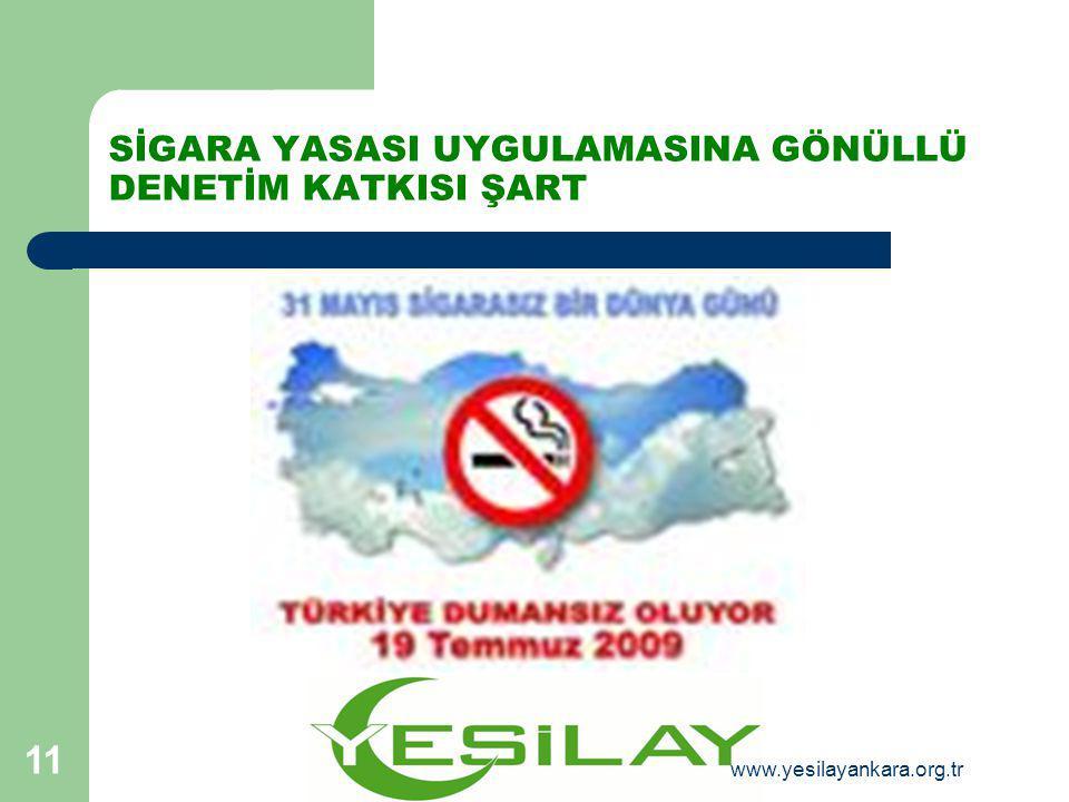 SİGARA YASASI UYGULAMASINA GÖNÜLLÜ DENETİM KATKISI ŞART 11 www.yesilayankara.org.tr